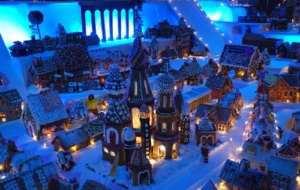 Natal iluminado de Bergen e a maior cidade de gengibre do mundo